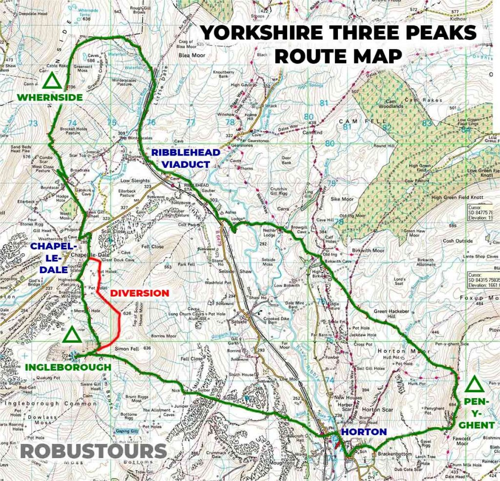 Yorkshire Three Peaks route map - with diversion